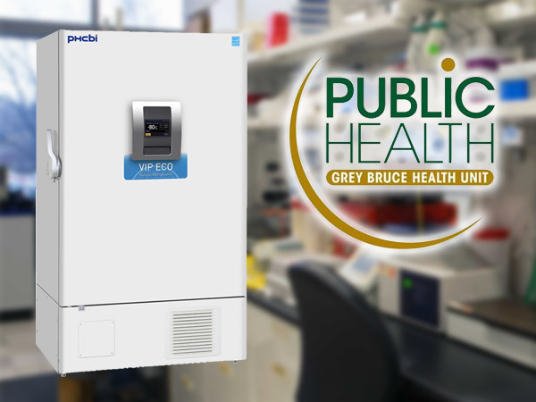 Pfiser vaccine freezer Grey Bruce Public Health.