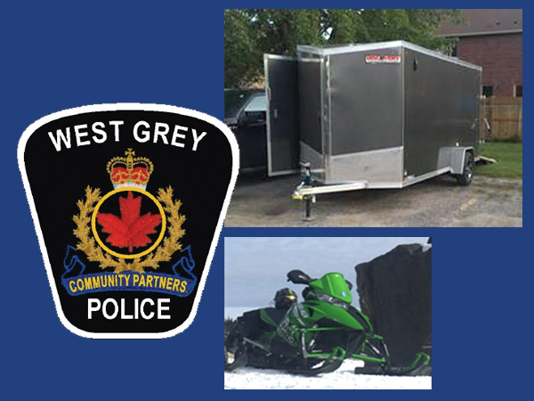 west grey police logo and stolen trailer and snow mobile