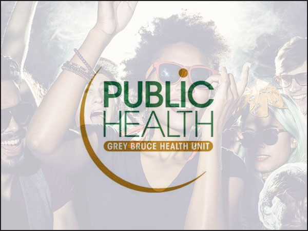 Grey Bruce Public Health logo with party background