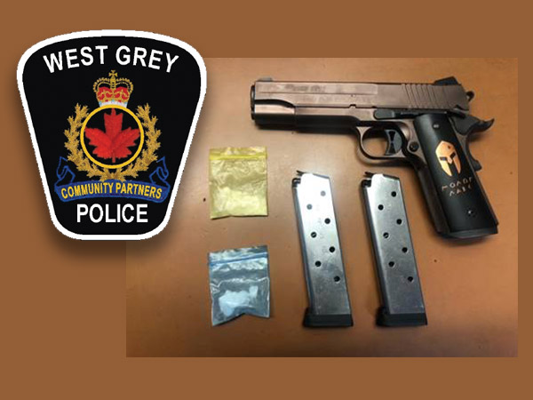 West Grey Police logo and semi automatic gun plus drugs