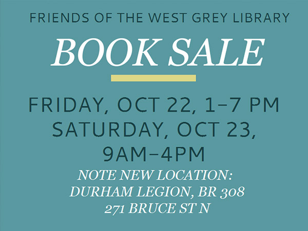 Friends of the West Grey Library Book Sale - October 22-23, 2021