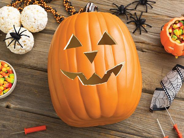 jack-o-lantern and candy