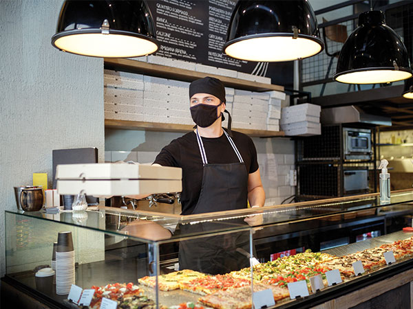 food worker wearing face mask