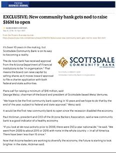 Scottsdale Community Bank gets nod to raise 16 million