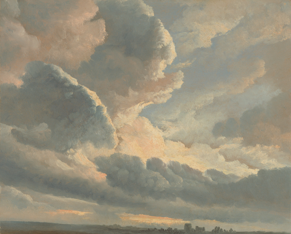 Simon Alexandre Clement Denis: Study of clouds with a sunset near Rome. Flemish painter, 1786-1801