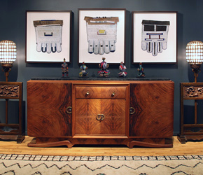 Professionally framed and based African beadwork really steals the show atop a mid-century French cabinet flanked by antique Chinese floor lamps