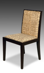 Contemporary chairs upholstered with African Kuba cloth