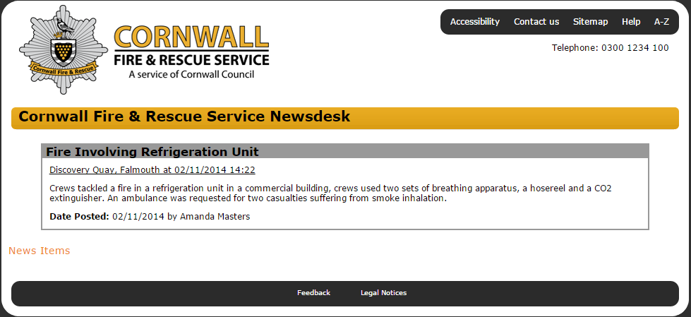 fire in refrigeration unit Cornwall