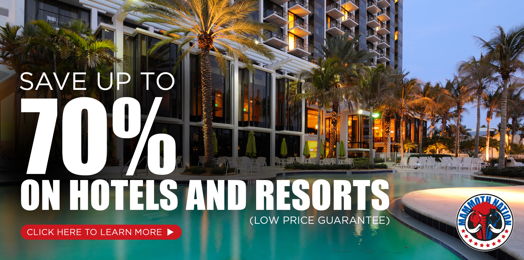 70% off hotels and resorts