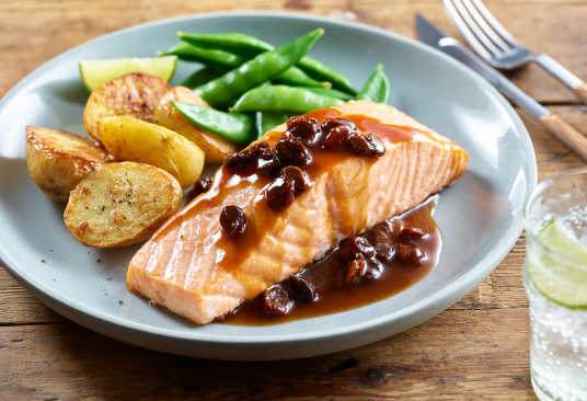 Baked Salmon with a Sweet and Sour Sauce