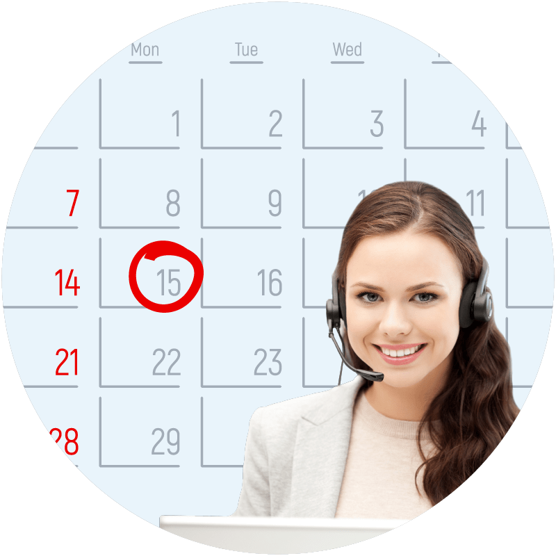 EDS 24 hour call center calendar and representative